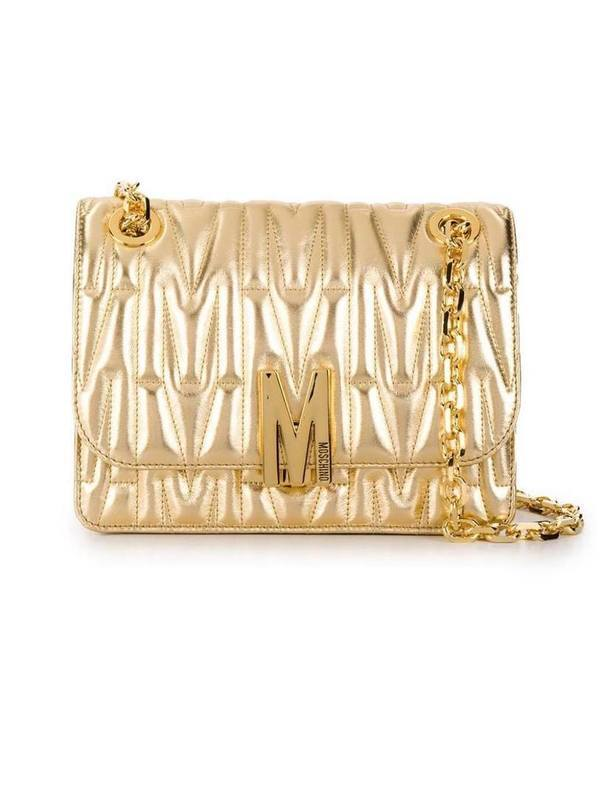 Moschino Gold Quilted Monogram Shoulder Bag