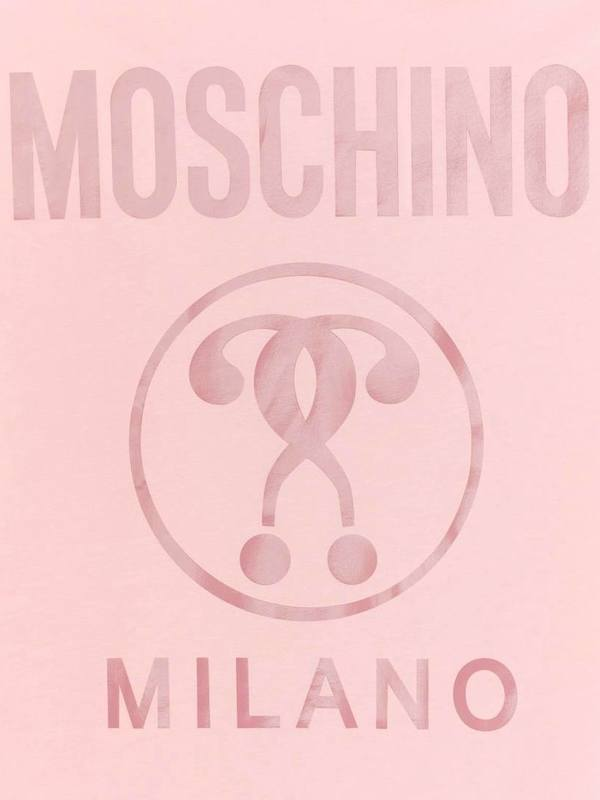 Moschino Pink Jersey T-Shirt Double Question Mark