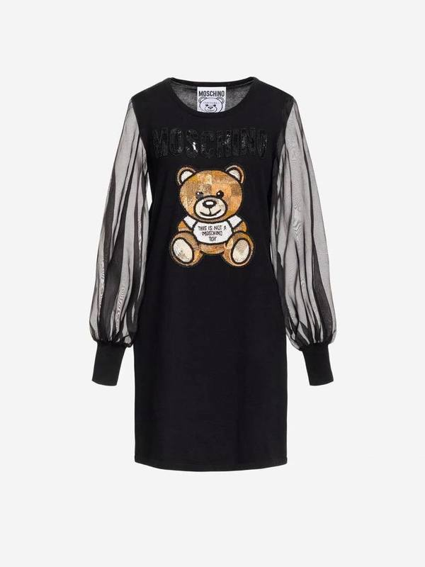 Moschino Cotton Dress Teddy Embroidery