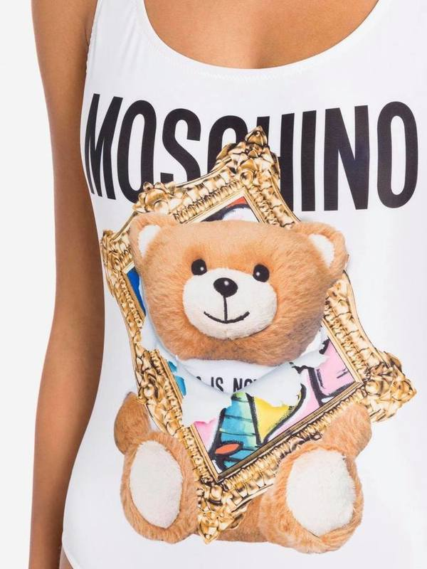 Moschino White One-Piece Swimsuit Frame Teddy Bear