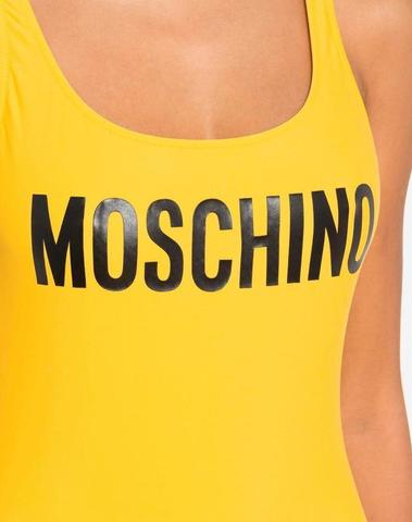Moschino Yellow One-Piece Swimsuit With Logo