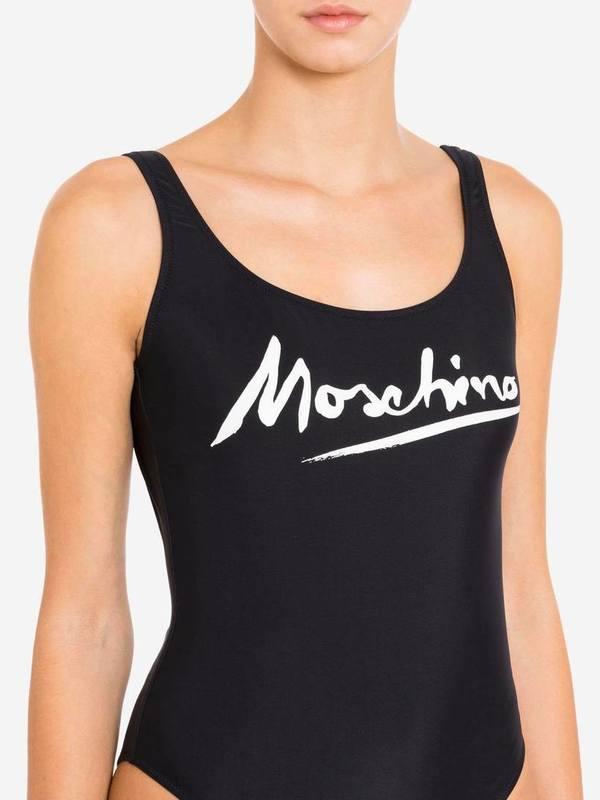 Moschino Black One-Piece Swimsuit Logo Signature