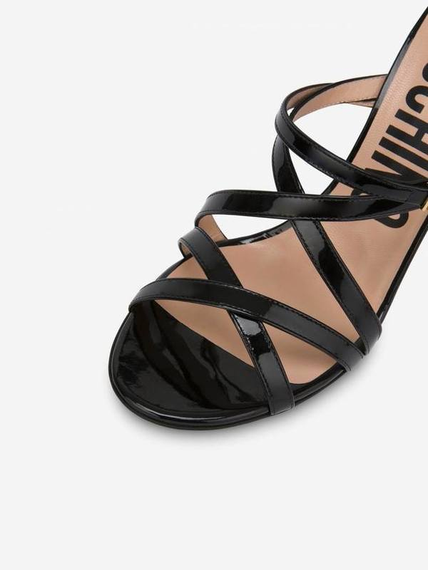 Moschino Patent Leather Sandals Mini Lettering