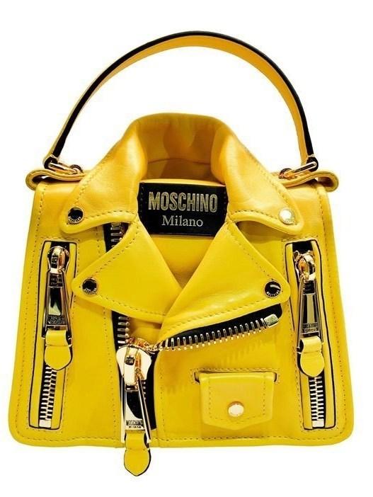 Moschino Yellow Biker Shoulder Bag