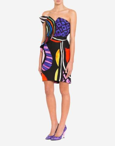 Moschino Abstract Print Fitted Dress