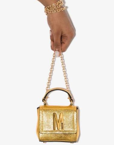 Moschino Logo-Embellished Gold Mini Bag