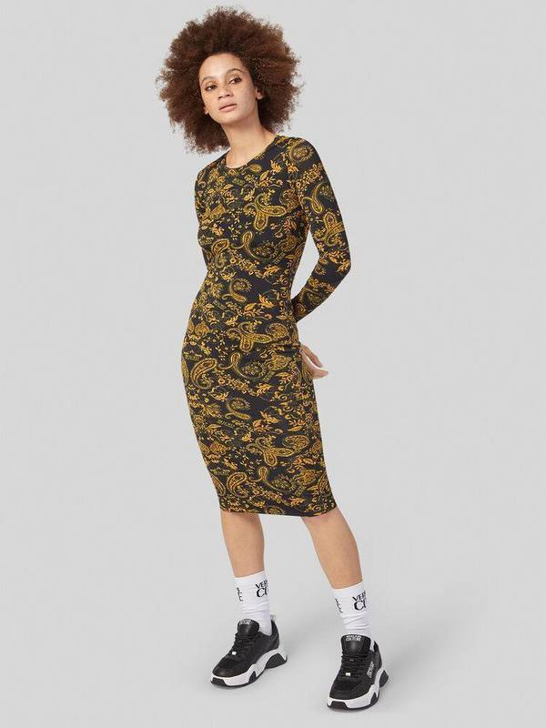 Versace Paisley Loop Print Midi Dress