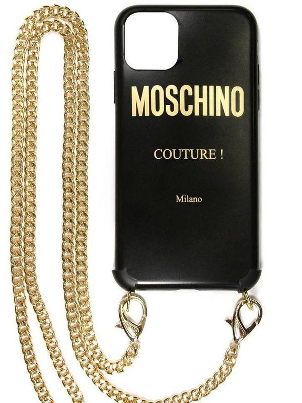 Black Moschino Couture IPhone 11 Pro Max Case With Golden Chain
