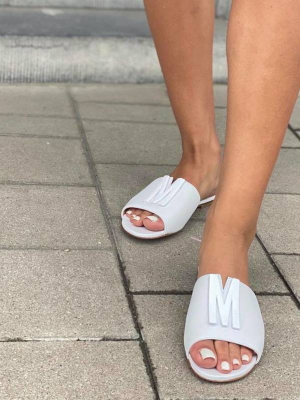 Moschino White M Plaque Slide Sandals