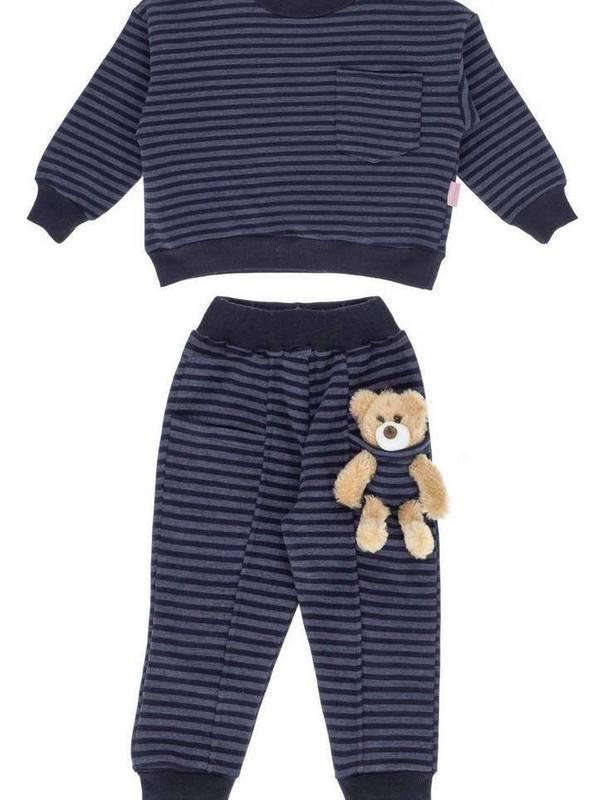 'Kids Of Heart' Tracksuit Set (INDIGO BLUE-STRIPED) With Teddy Bear