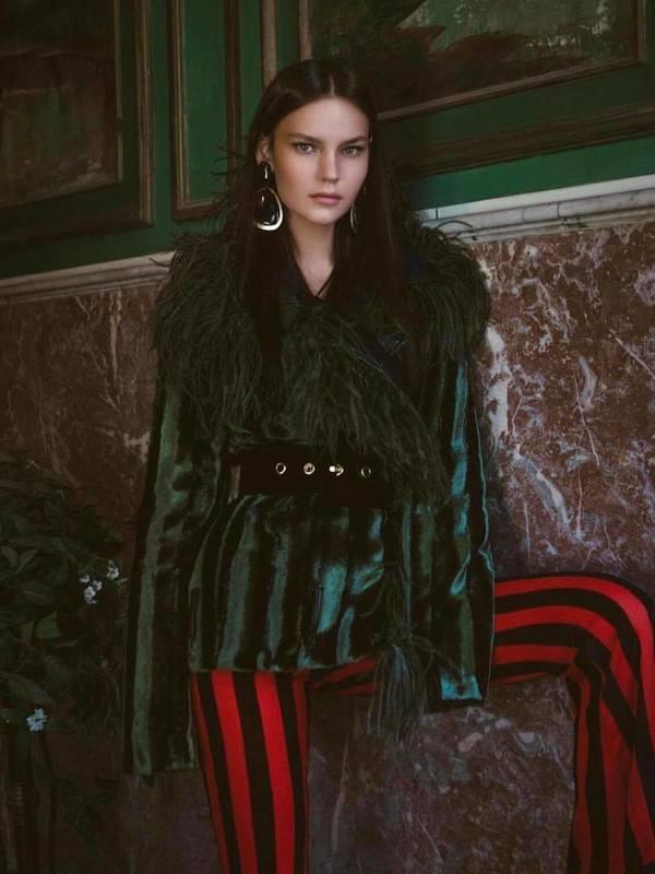 Raisa Vanessa Khaki Green Velvet Feather Jacket