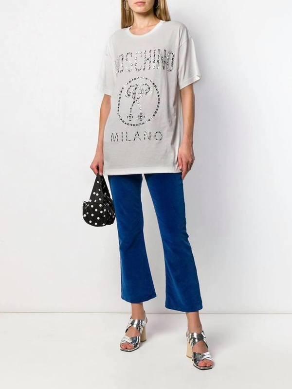 Moschino Crystal Embellished Logo T-Shirt