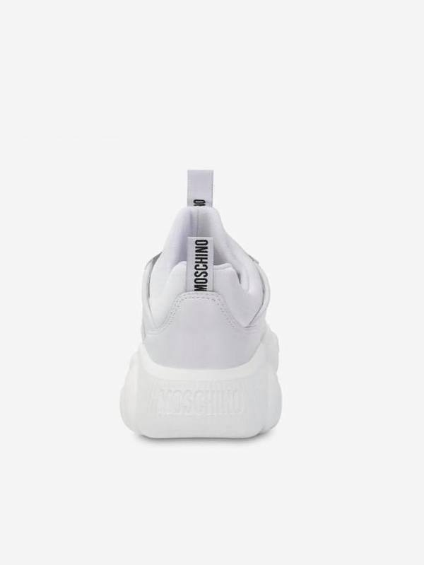 Moschino White Teddy Shoes Faux Leather Sneakers