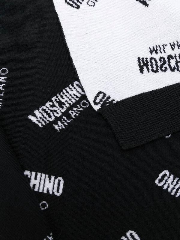 Moschino Logo Embroidered Scarf